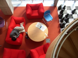 Stata Center - Lounge with Chess Set, Sleeping Student